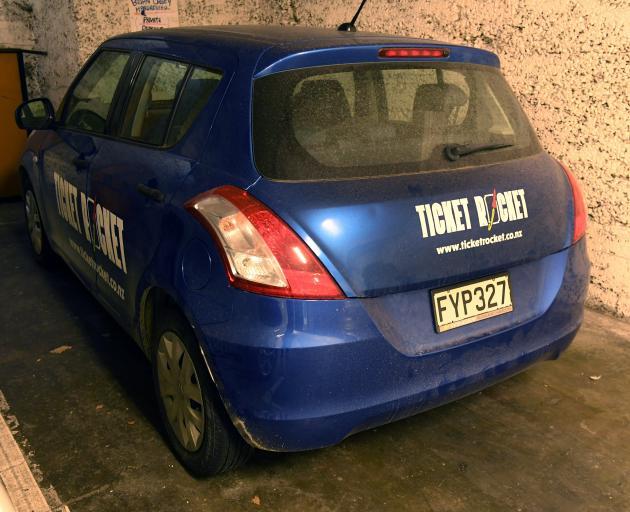 A branded Ticket Rocket car left in a central Dunedin car park. Photo: Stephen Jaquiery