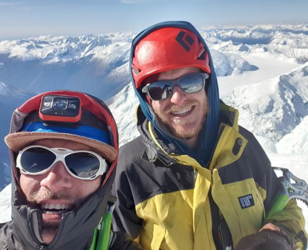 A selfie of Melvin Krook and Andy Hoare (right) at the summit of Mt Aspiring, unaware they would...