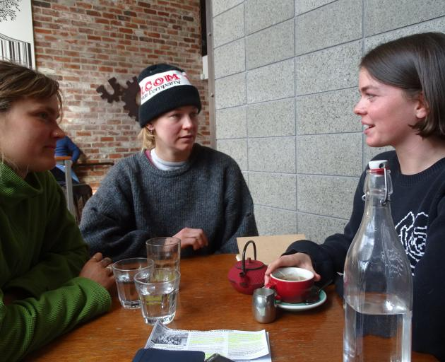 Three founding members of Generation WAO (from left) Saskia Broek (22), Lillian Cotter (24) and...