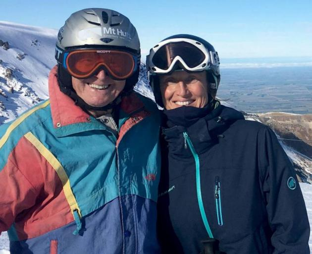 Former Nazi soldier Willi Huber, the ''founding father'' of Mt Hutt skifield, pictured with 1992 Winter Olympic Games slalom silver medallist Annelise Coberger on Mt Hutt in 2017. Photo: Allied Press Files