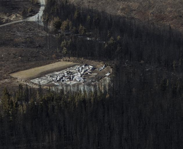 Aerial photographs have revealed the scope of the devastating damage cause by the fire at Lake Ohau. Photo: Pool