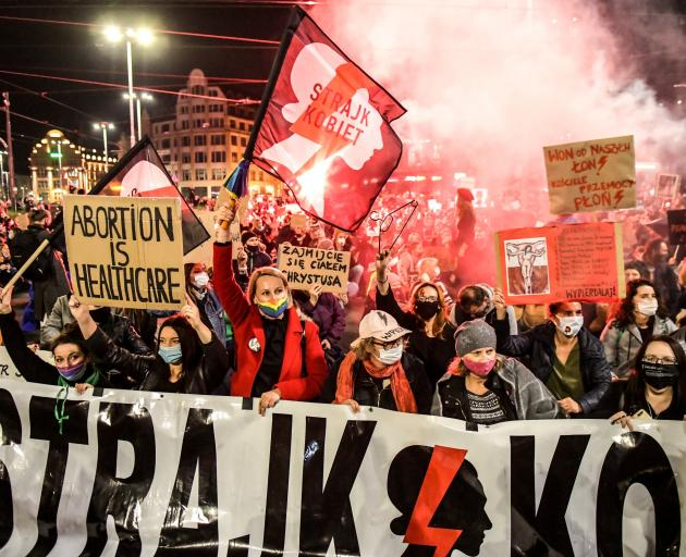 People came out to protest in Wroclaw against the ruling by Poland's Constitutional Tribunal that...