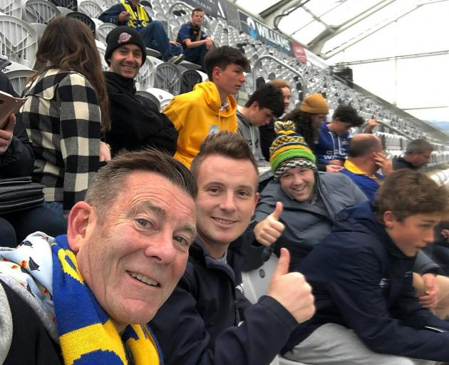 Michael Woodhouse (left), Liam Kernaghan and Hamish Walker at Sunday's Ranfurly Shield match.
