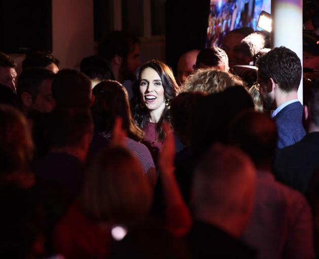 Labour Party leader and New Zealand Prime Minister Jacinda Ardern among her supporters after...