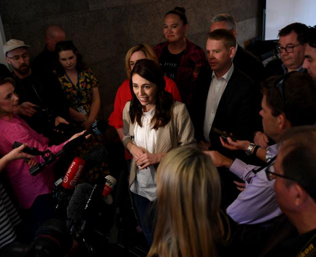 New Zealand Prime Minister Jacinda Ardern holds a press conference after meeting with members of her party today. Photo: Getty Images