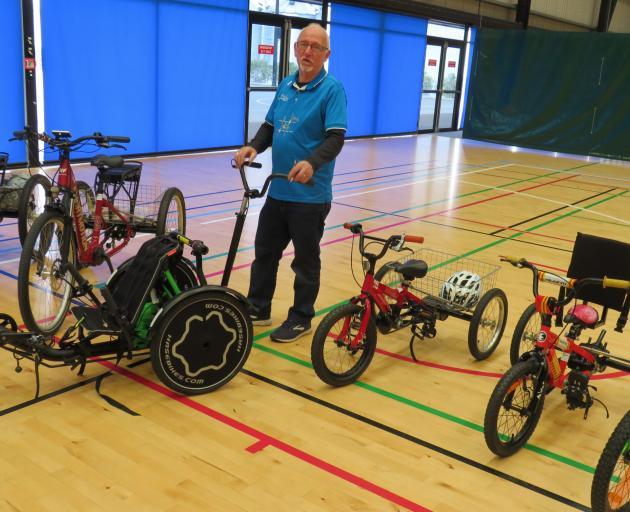 Trikes NZ owner Brian Gilbert with some of the trikes at the Ashburton roadshow. Photo: Ashburton...