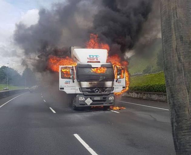 The truck fire near Hillsborough. Photo: Alok Verma via NZ Herald