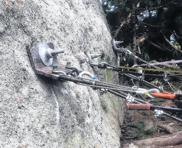 The huge boulder above Blueskin Rd is restrained by cables. PHOTO: SUPPLIED
