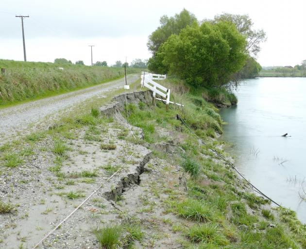 Riverbank Rd in Inch Clutha is one of two roads likely to be experience temporary or permanent closure to normal traffic, as a result of severe South Otago flooding in February. PHOTO: RICHARD DAVISON