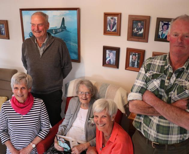 Audrey Munro (centre), of Balclutha, celebrates her 100th birthday with her children (from left)...