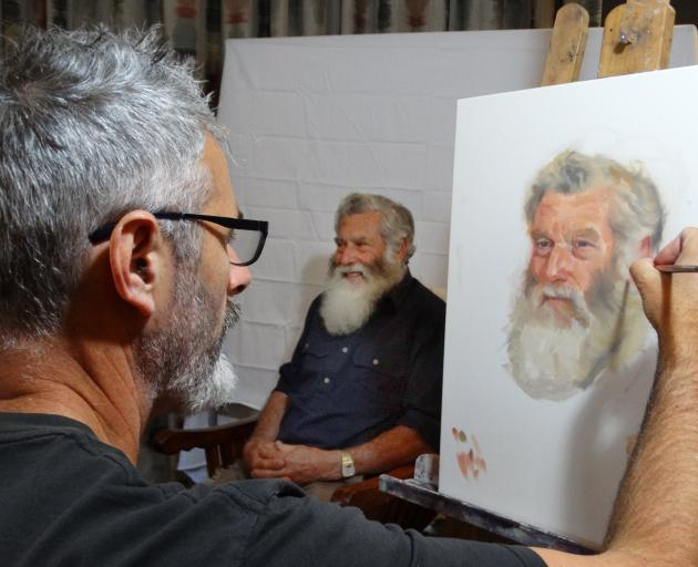 Luggate portrait artist Stephen Martyn Welch paints Cardrona farmer and curler Ray Anderson....