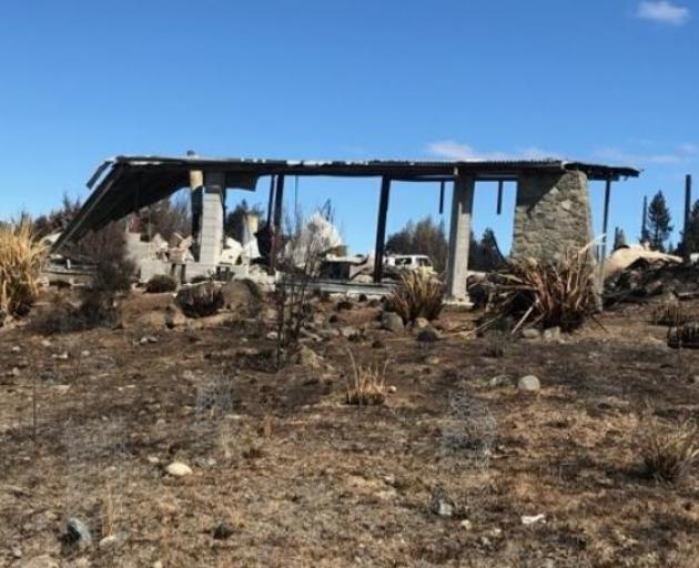 Remnant framework of a Lake Ōhau Village home. Photo: Supplied via RNZ