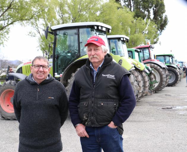 Rally organisers Bryce McKenzie (left) and Laurie Paterson stand in the Gore A & P Showgrounds...
