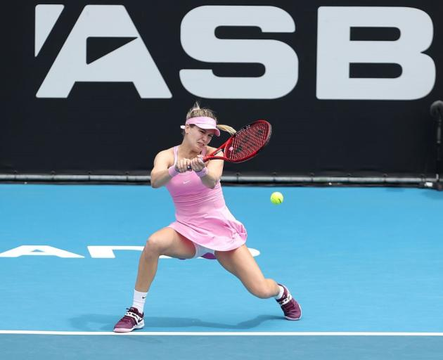 Eugenie Bouchard plays a shot during her win at the ASB Classic. Photo: Getty Images