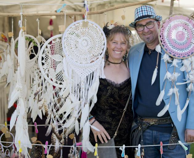 Welcoming Dunedin visitors to the Extravaganza Fair are stallholders Terrene Gibson and Yani Alig...