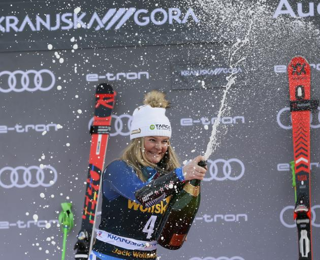 Alice Robsinson celebrates her Giant Slalom World Cup win in Slovenia in February. Photo: Getty...