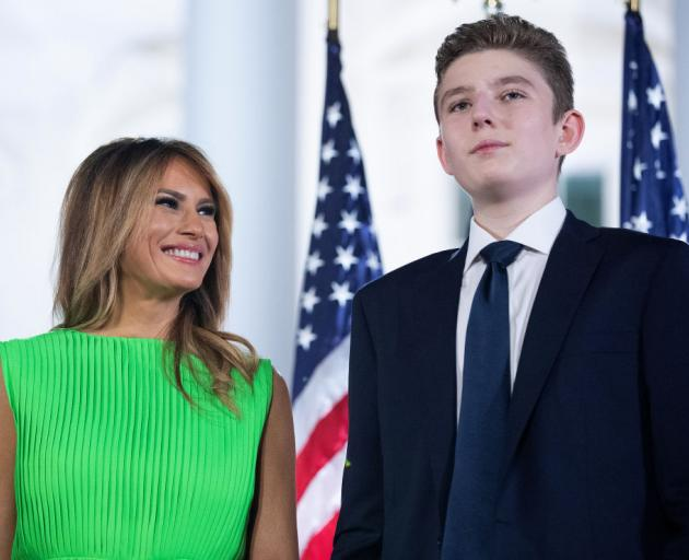 Melania  Trump and son Barron at a recent event at the White House. Photo: Getty Images