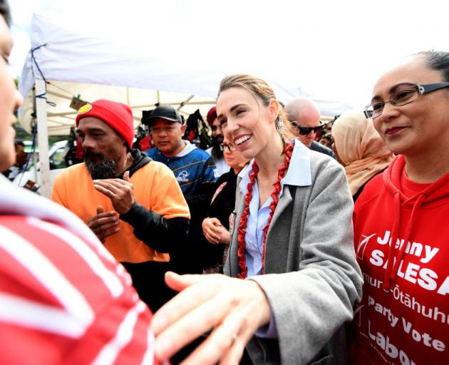 Labour leader Jacinda Ardern meets supporters at Otara Market at the weekend. Photo:Getty Images