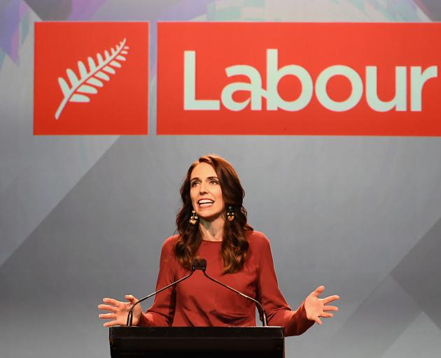 Jacinda Ardern delivers her victory speech at the Auckland Town Hall. Photo; Getty Images