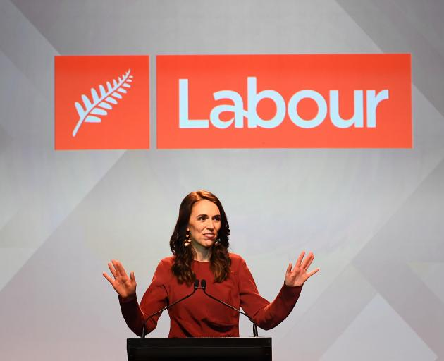 Labour leader Jacinda Ardern claims victory in the 2020 election at the party's function at the...