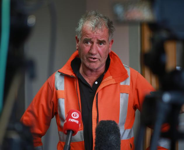 Fire and Emergency incident controller Graeme Still briefs media in Twizel on Sunday. PHOTO:...
