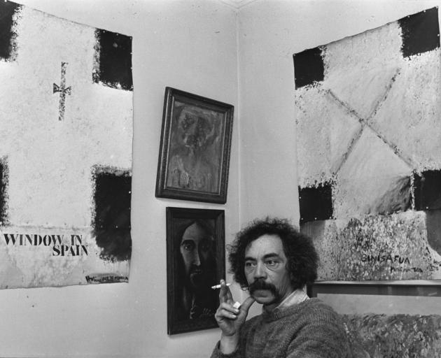 """Ralph Hotere with two of the canvases from the """"Window in Spain"""" series in 1979. PHOTO: ODT FILES"""