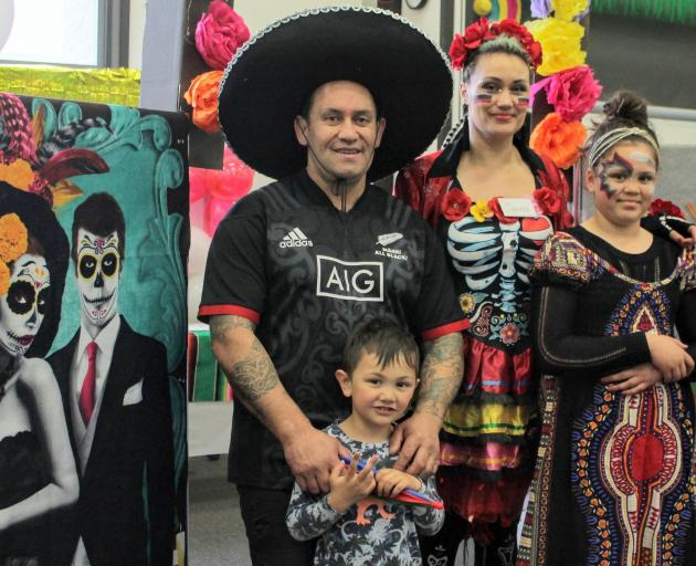 Invercargill family Tyrone Tainui, Tytus (4), Sarina and Tingah (10) Faalologo dress up for the...