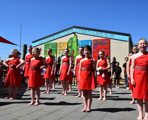 The Rimu Full Primary School kapa haka group in front of the new school mural. PHOTO: LAURA SMITH...
