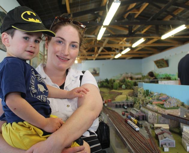 Gore residents Michaela Goodman and Arthur Prattley (2)  check out model layouts at the 36th...