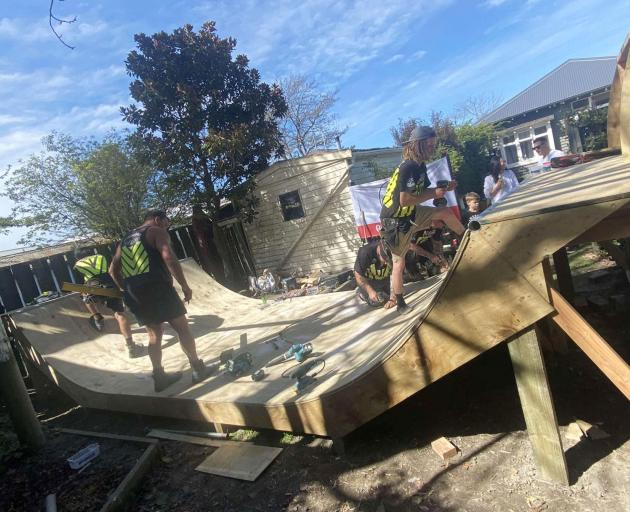 The skateboard ramp under construction. Photo: Supplied