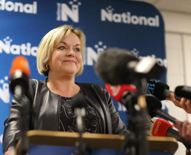 National Party Leader Judith Collins talks with media after her party's loss to Labour. Photo: Getty Images