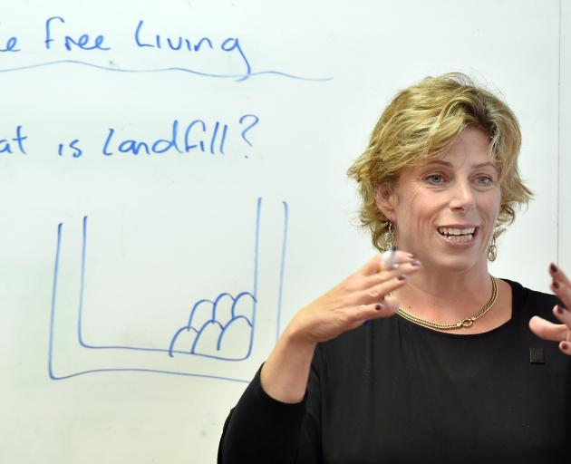 Nappy Lady Kate Meads discusses waste in landfills. PHOTO: PETER MCINTOSH