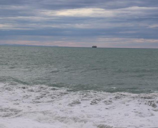 The Ken Rei is at anchor off Napier awaiting official advice after a Covid-19 scare. Photo / RNZ