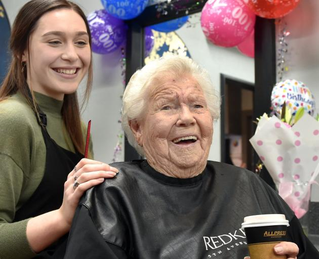 Eileen Pratt (100) has her weekly hair styling with Hair Co hairdresser Tansy Mogensen in Mosgiel...