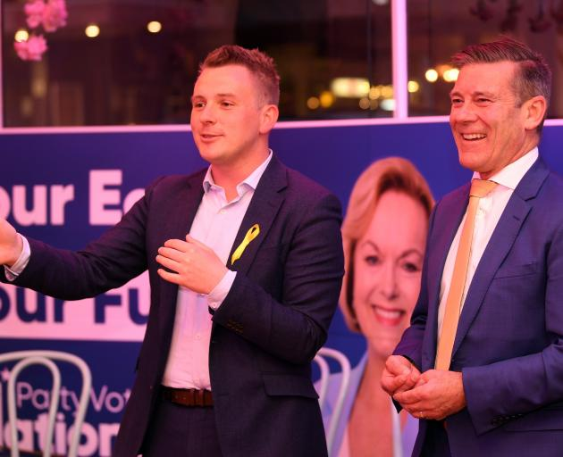 National Party Dunedin candidate Michael Woodhouse (right) and Taieri candidate Liam Kernaghan...