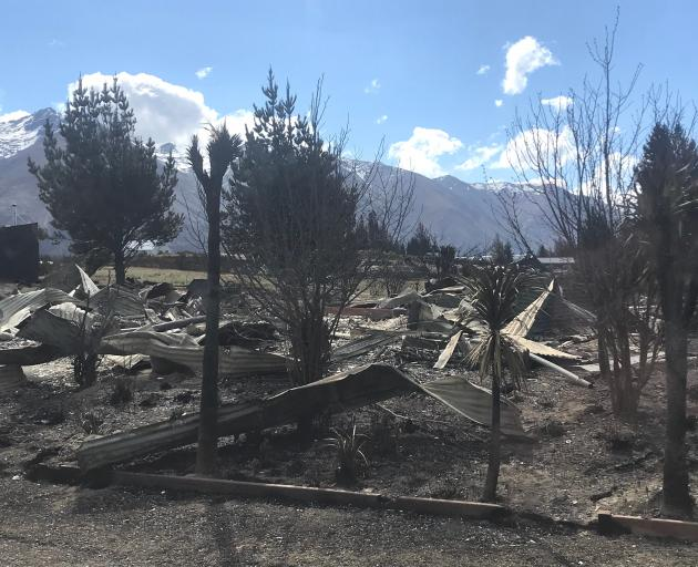 This house in Lake Ohau has been completely destroyed by the fire. Photo: Daisy Hudson
