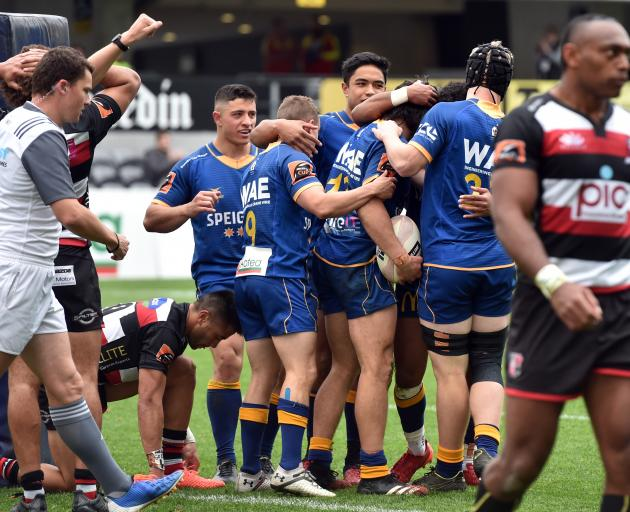 Otago celebrates its Mitre 10 Cup match win today. PHOTO:PETER MCINTOSH
