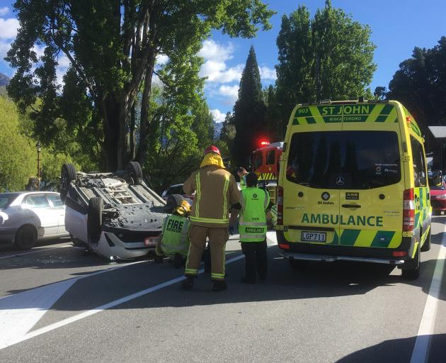 Emergency services at the scene of the crash. Photo: Guy Williams