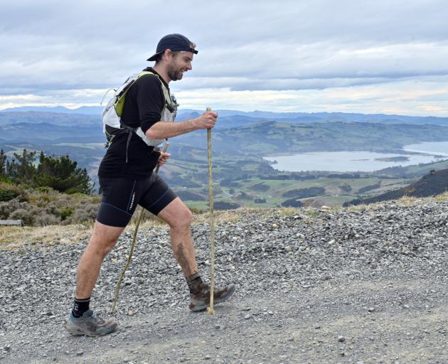 Scott Payne competes in the Three Peaks Mountain Race yesterday. PHOTO: LINDA ROBERTSON