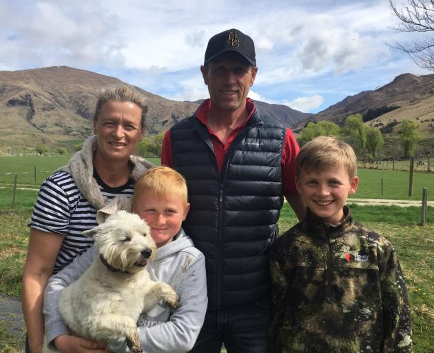 The Mackay family, of Spotts Creek Station, Cardrona: Anna, Forbes and Westie Maggie, Hamish and...