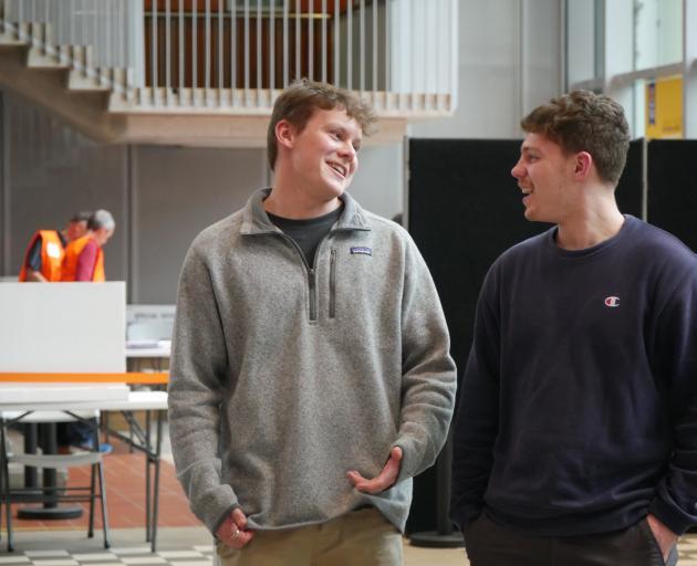 University of Otago students Ben Wilkins (left) and Max Pahina (both 19), both of Wellington,...