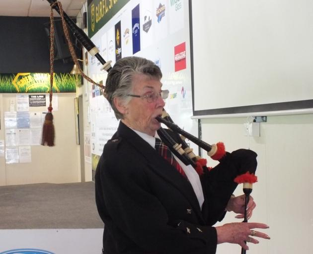 Myra Wells, of Abbotsford, pipes in the haggis at the New Zealand Trillium Group's lunch on...