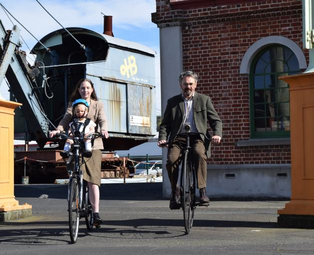 Dunedin Tweed Ride co-organiser Ruth Barton, with son Harold Hockey (1), and co-organiser Peter...