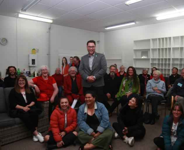 Waitaki candidate Liam Wairepo is surrounded by Labour supporters at the party's Oamaru HQ on...