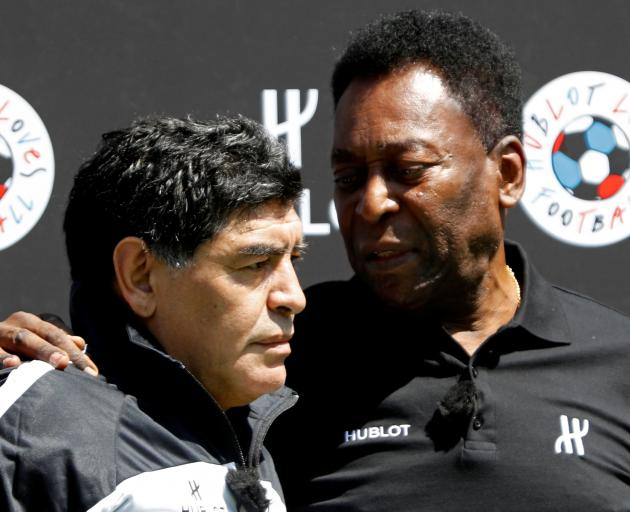 Maradona with another legend of the game, Pele, in 2016. Photo: Reuters