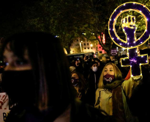 People took to the streets in Istanbul on Wednesday in protest on the International Day for the...