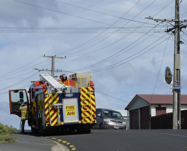 Dunedin fire crew deal with powerlines down in Tomahawk Rd, Anderson's Bay, this afternoon. Photo...
