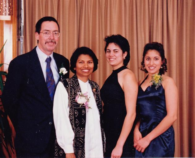 At the Fiordland College Prom in 1997 are the Verrall family; (from left) Bill, Lathee, Ayesha...