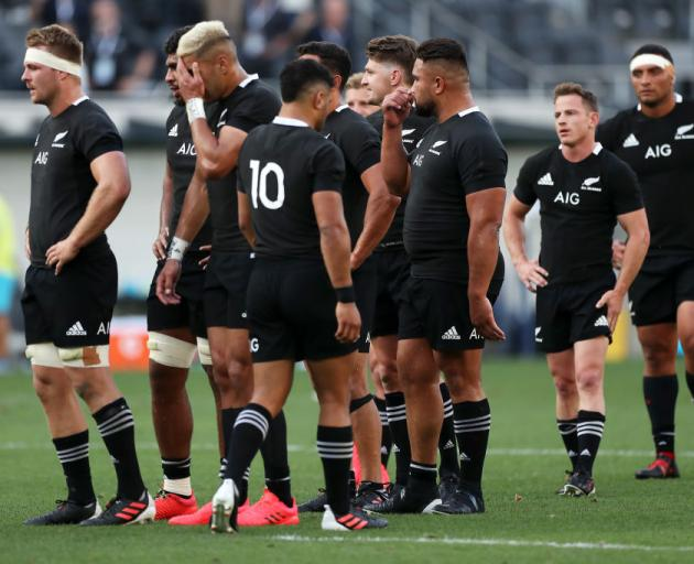 The All Blacks look dejected after defeat during the 2020 Tri-Nations rugby match with the Argentina Los Pumas. Photo: Getty Images
