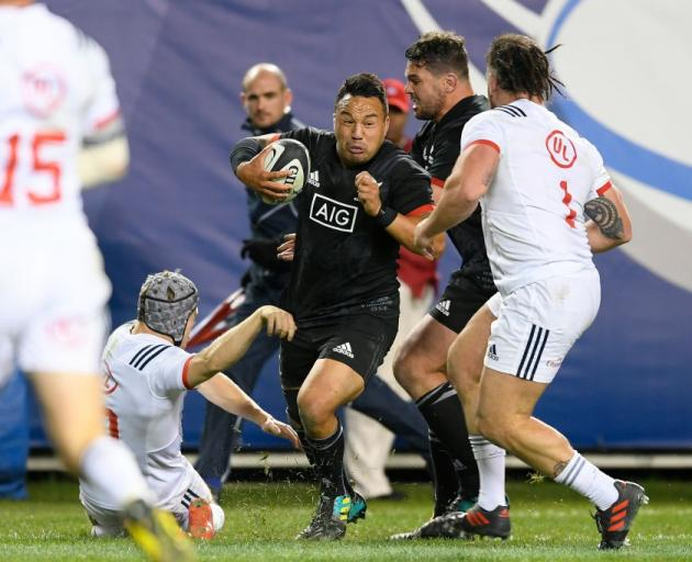 Ash Dixon carries the ball for the Maori All Blacks against the United States last year. Photo:...